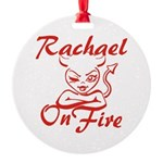 Rachael On Fire Round Ornament