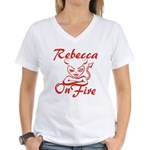 Rebecca On Fire Women's V-Neck T-Shirt