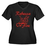 Rebecca On Fire Women's Plus Size V-Neck Dark T-Sh