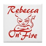 Rebecca On Fire Tile Coaster