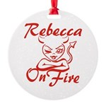 Rebecca On Fire Round Ornament