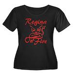 Regina On Fire Women's Plus Size Scoop Neck Dark T