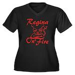 Regina On Fire Women's Plus Size V-Neck Dark T-Shi