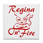 Regina On Fire Tile Coaster