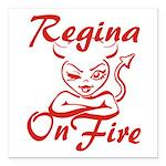 Regina On Fire Square Car Magnet 3