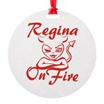 Regina On Fire Round Ornament