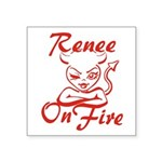 Renee On Fire Square Sticker 3