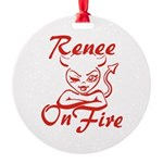 Renee On Fire Round Ornament