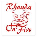Rhonda On Fire Square Car Magnet 3