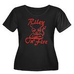 Riley On Fire Women's Plus Size Scoop Neck Dark T-