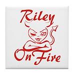 Riley On Fire Tile Coaster