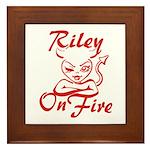 Riley On Fire Framed Tile