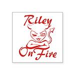 Riley On Fire Square Sticker 3
