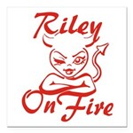Riley On Fire Square Car Magnet 3