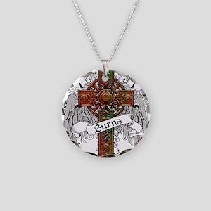 Burns Tartan Cross Necklace Circle Charm