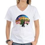 XMusic2-GreatDane (blk-cr) Women's V-Neck T-Shirt