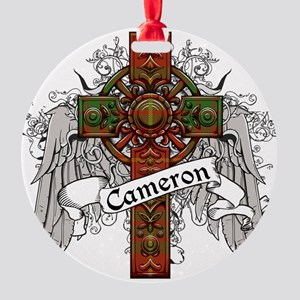 Cameron Tartan Cross Round Ornament
