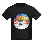 XMusic2 - Greyhound (BW) Kids Dark T-Shirt