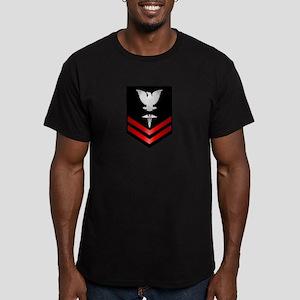 Navy PO2 Corpsman Men's Fitted T-Shirt (dark)
