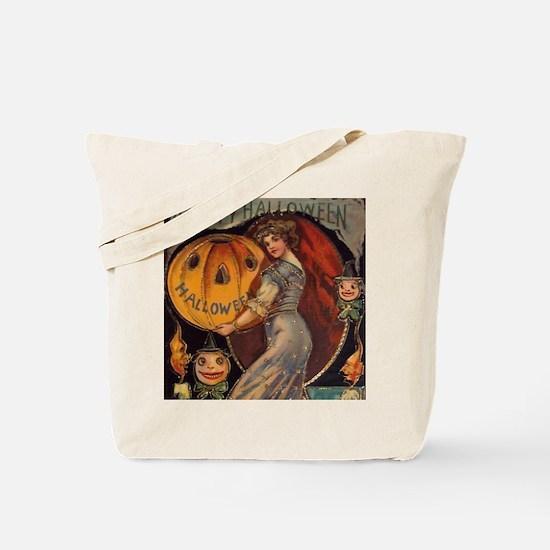 Vintage Halloween Card sq Tote Bag