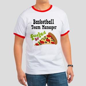 Basketball Team Manager Funny Pizza Ringer T