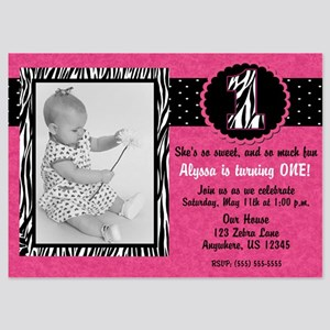 1st Birthday Pink Zebra Invitation 5x7 Flat Cards