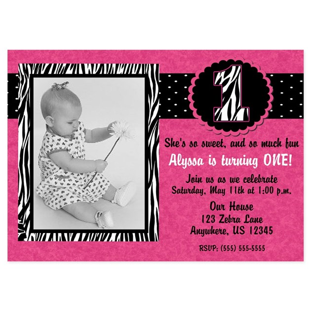 Pink Zebra Print Girls 1st Birthday Invitation: 1st Birthday Pink Zebra Invitation 5x7 Flat Cards By
