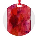 Pink Leaves Round Ornament