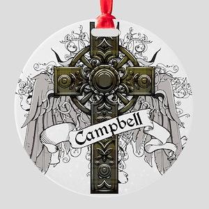Campbell Tartan Cross Round Ornament