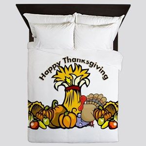 Thanksgiving Pumpkins Queen Duvet