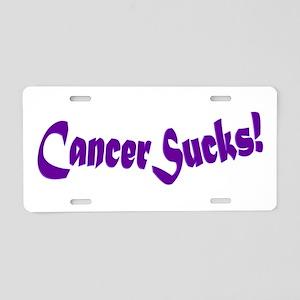 Cancer Sucks Purple Sticker Aluminum License Plate