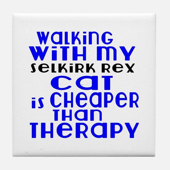Walking With My Selkirk Rex Cat Tile Coaster