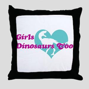 Girls (Heart) Dinosaurs Too Throw Pillow