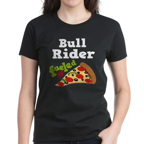Bull Rider Funny Pizza Women's Dark T-Shirt
