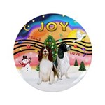"""XMusic2-Two Springer Spaniels 3.5"""" Button"""
