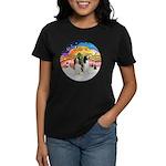 XMusic2-Two Springer Spaniels Women's Dark T-Shirt