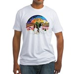 XMusic2-Two Springer Spaniels Fitted T-Shirt