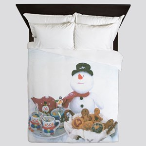 Snowmen Love Snacks. Queen Duvet