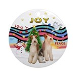 XMusic1 - Two Wire Fox Terriers.png Ornament (Roun