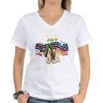 XMusic1 - Two Wire Fox Terriers.png Women's V-Neck