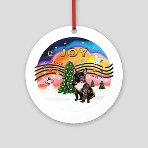 XMusic2-FrenchBulldog-br Ornament (Round)