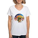 XMusic2-SharPei (J) Women's V-Neck T-Shirt