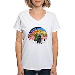 XMusic2-Black Shar Pei Women's V-Neck T-Shirt