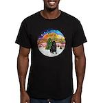 XMusic2-Black Shar Pei Men's Fitted T-Shirt (dark)