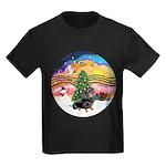 XMusic2-Dachshund 4 (BT) Kids Dark T-Shirt