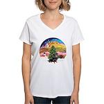 XMusic2-Dachshund 4 (BT) Women's V-Neck T-Shirt