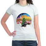 XMusic2-Dachshund 4 (BT) Jr. Ringer T-Shirt