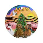 XMusic2-Two brown Dachshunds Ornament (Round)