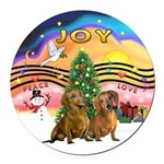 XMusic2-Two brown Dachshunds Round Car Magnet