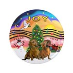 """XMusic2-Two brown Dachshunds 3.5"""" Button"""